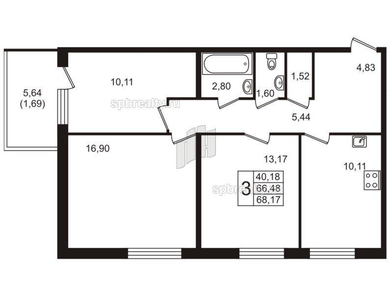 Планировка Трёхкомнатная квартира площадью 68.17 кв.м в ЖК «Юттери»