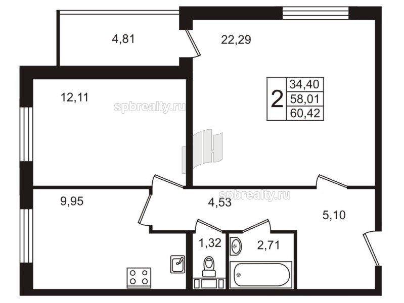 Планировка Двухкомнатная квартира площадью 60.7 кв.м в ЖК «Юттери»