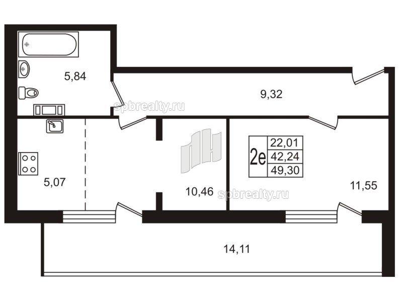 Планировка Двухкомнатная квартира площадью 49.2 кв.м в ЖК «Юттери»