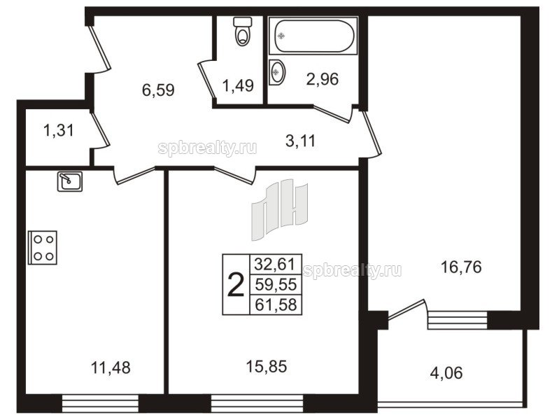 Планировка Двухкомнатная квартира площадью 61.8 кв.м в ЖК «Юттери»