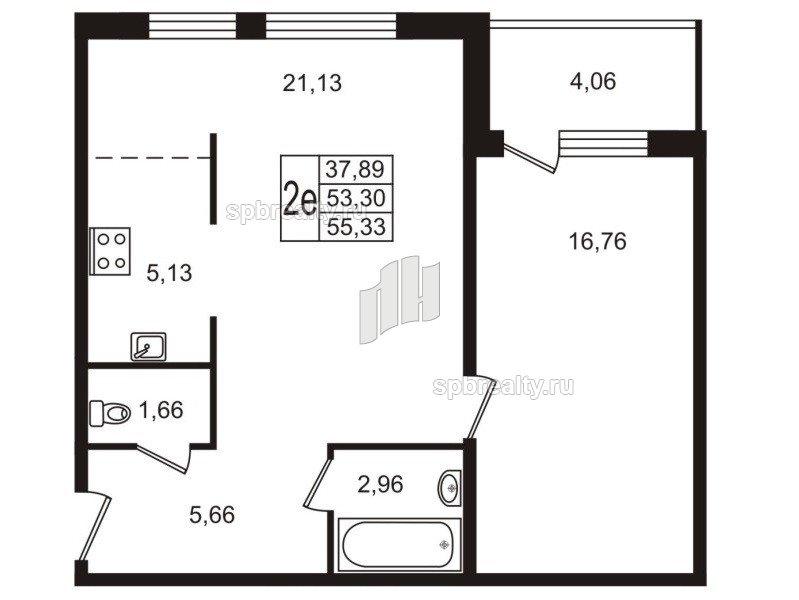 Планировка Двухкомнатная квартира площадью 55.3 кв.м в ЖК «Юттери»