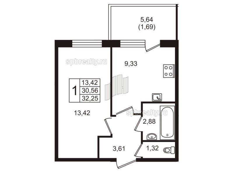 Планировка Однокомнатная квартира площадью 32.25 кв.м в ЖК «Юттери»