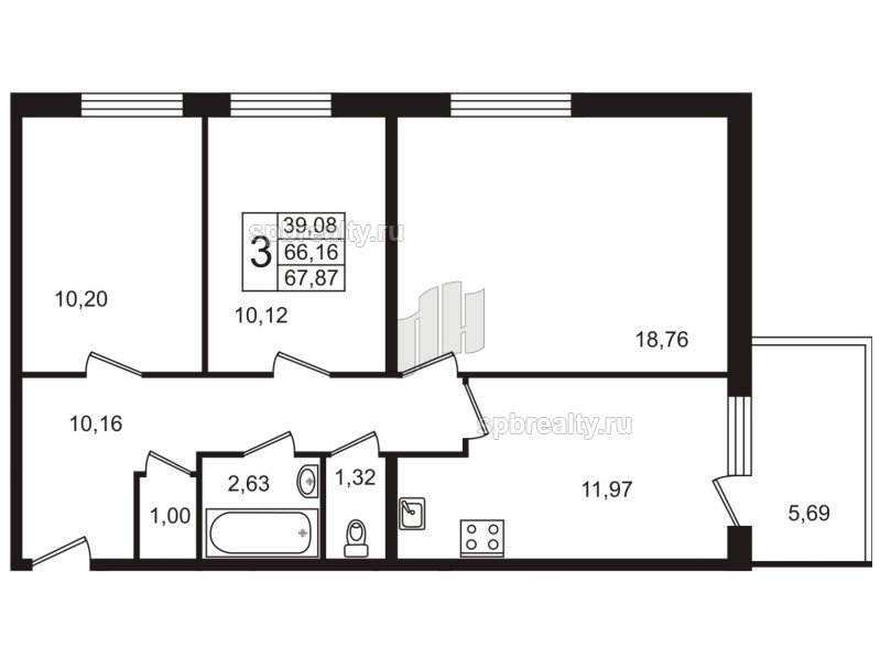 Планировка Трёхкомнатная квартира площадью 68.3 кв.м в ЖК «Юттери»