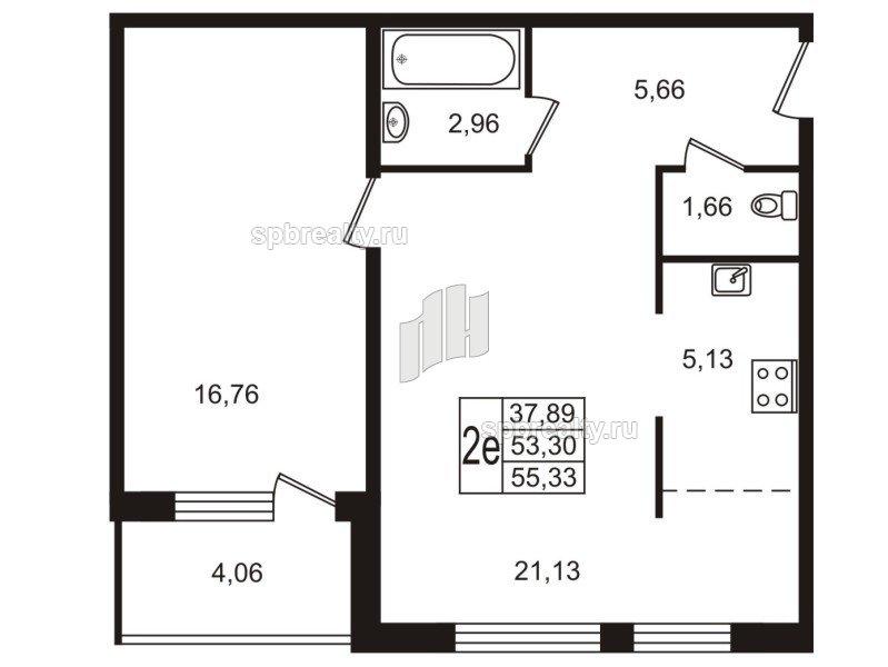 Планировка Двухкомнатная квартира площадью 55.4 кв.м в ЖК «Юттери»