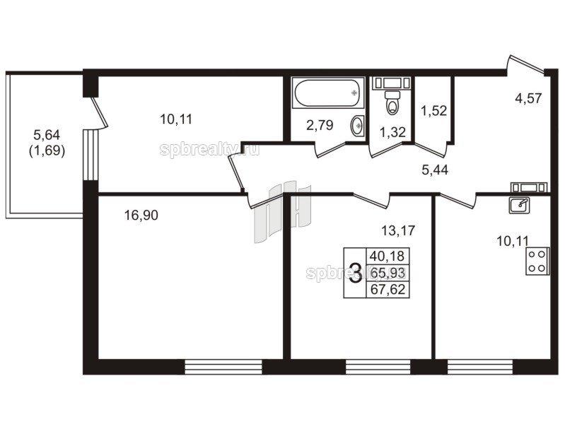 Планировка Трёхкомнатная квартира площадью 67.62 кв.м в ЖК «Юттери»