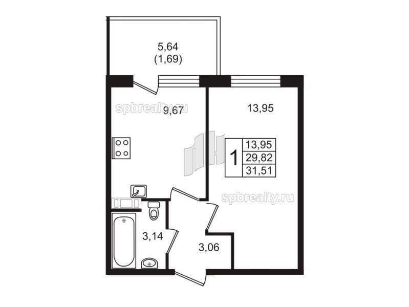 Планировка Однокомнатная квартира площадью 31.51 кв.м в ЖК «Юттери»