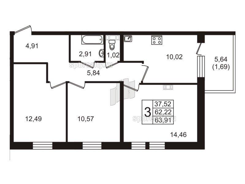 Планировка Трёхкомнатная квартира площадью 63.91 кв.м в ЖК «Юттери»